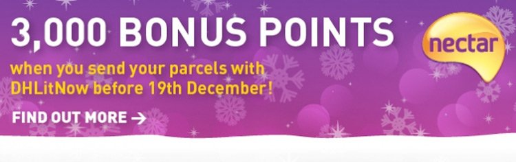 3,000 Bonus Nectar Points when you send a parcel with DHLitNow