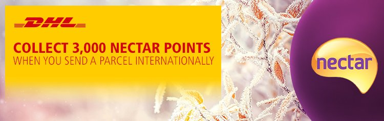 Collect 3,000 bonus Nectar points when you send a parcel with DHL in November