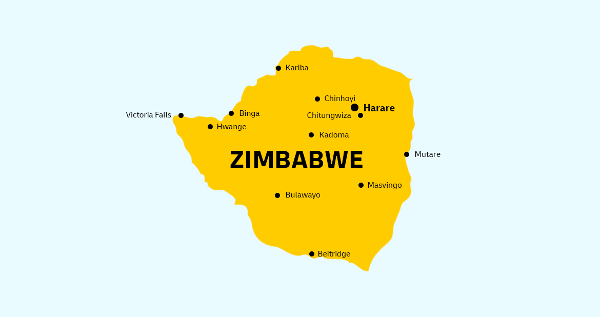 Send a parcel to Zimbabwe from UK - Country Map